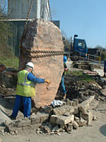 Stone arrives on site